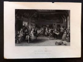 After David Wilkie C1860 Art Journal Print. The Penny Wedding